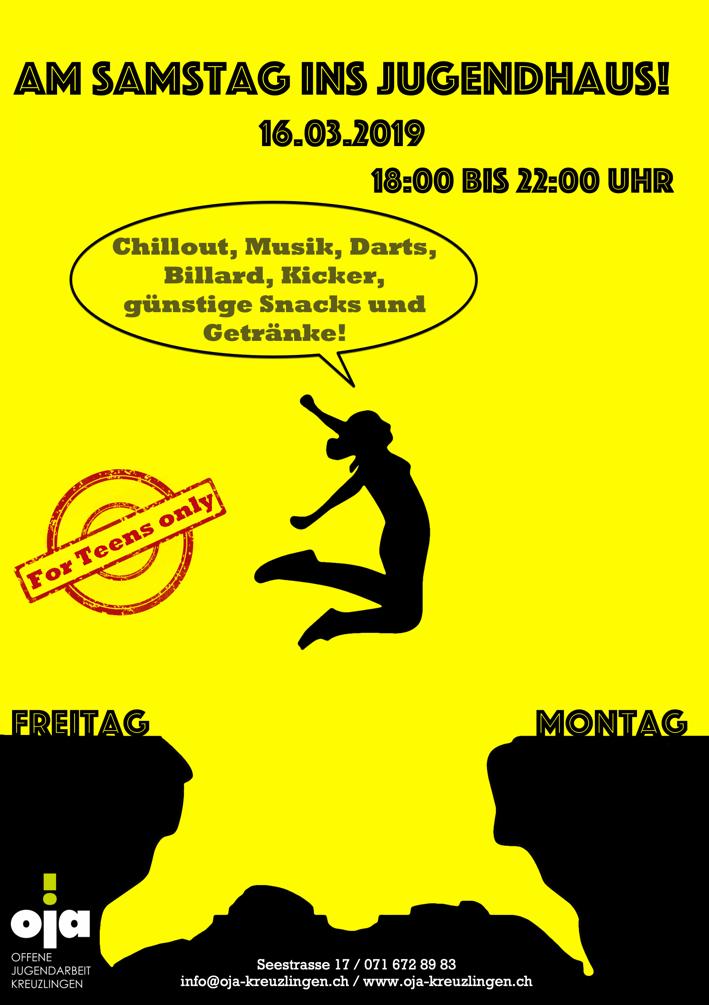 Sa. 16.03. Jugendhaus offen